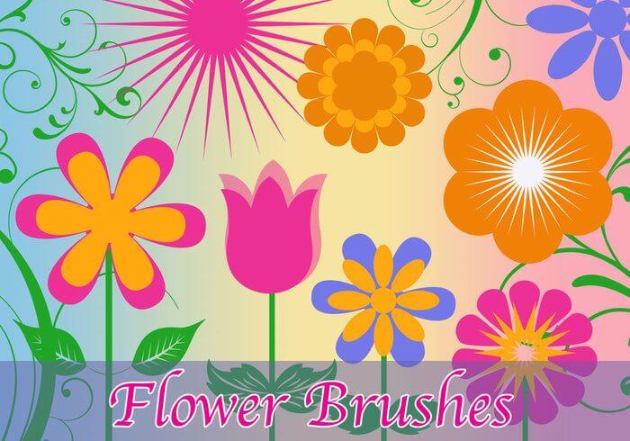 可爱的矢量花朵、卡通鲜花图案Photoshop笔刷素材下载