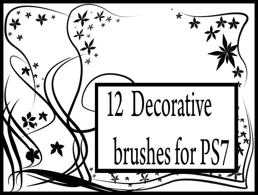 12种优雅的手绘植物印花图案Photoshop艺术花纹笔刷