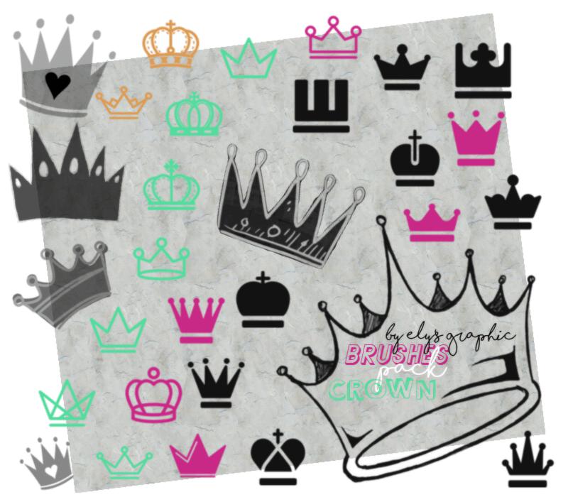 可爱的皇冠、卡哇伊 童趣王冠图案PS笔刷素材下载