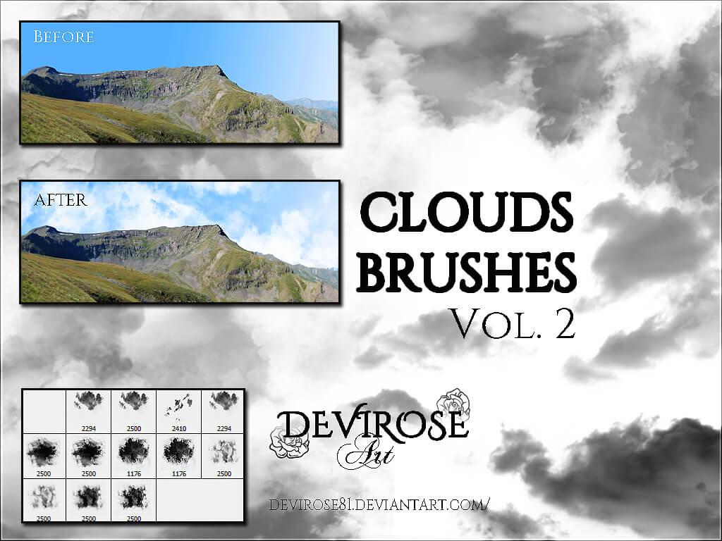 漂亮的高空云朵、白云、云层效果Photoshop笔刷素材下载 白云笔刷 云笔刷 云层笔刷  cloud brushes