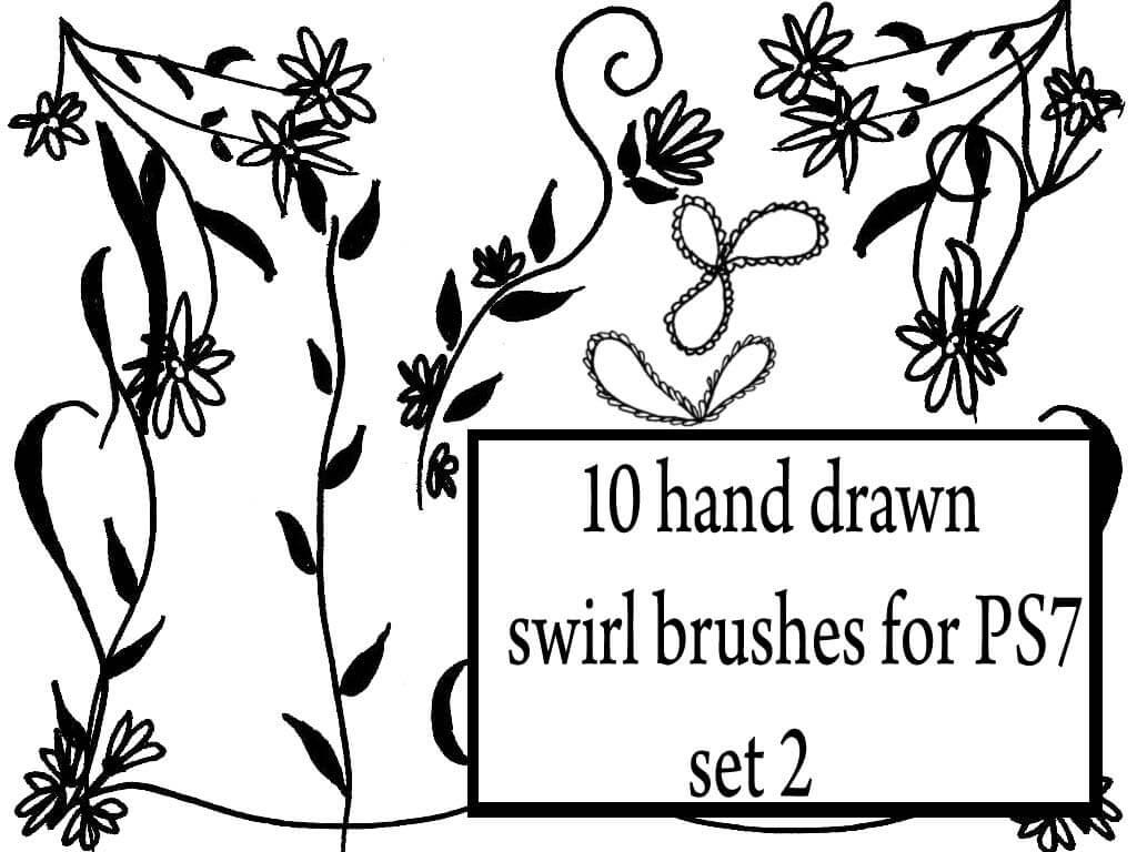10种可爱的幼稚涂鸦花纹图案PS笔刷素材下载 童趣涂鸦花纹笔刷 植物花纹笔刷 植物印花笔刷 手绘花纹笔刷  flowers brushes