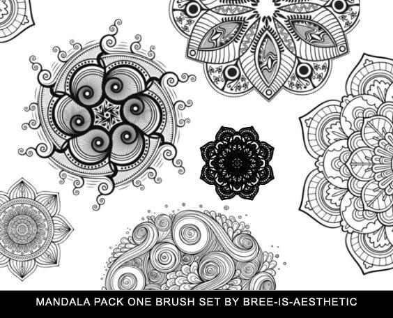 漂亮精美的手绘艺术花纹图案Photoshop笔刷素材下载