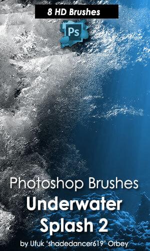 8种高清水中泡泡、海水气泡、入水水花PS笔刷素材下载