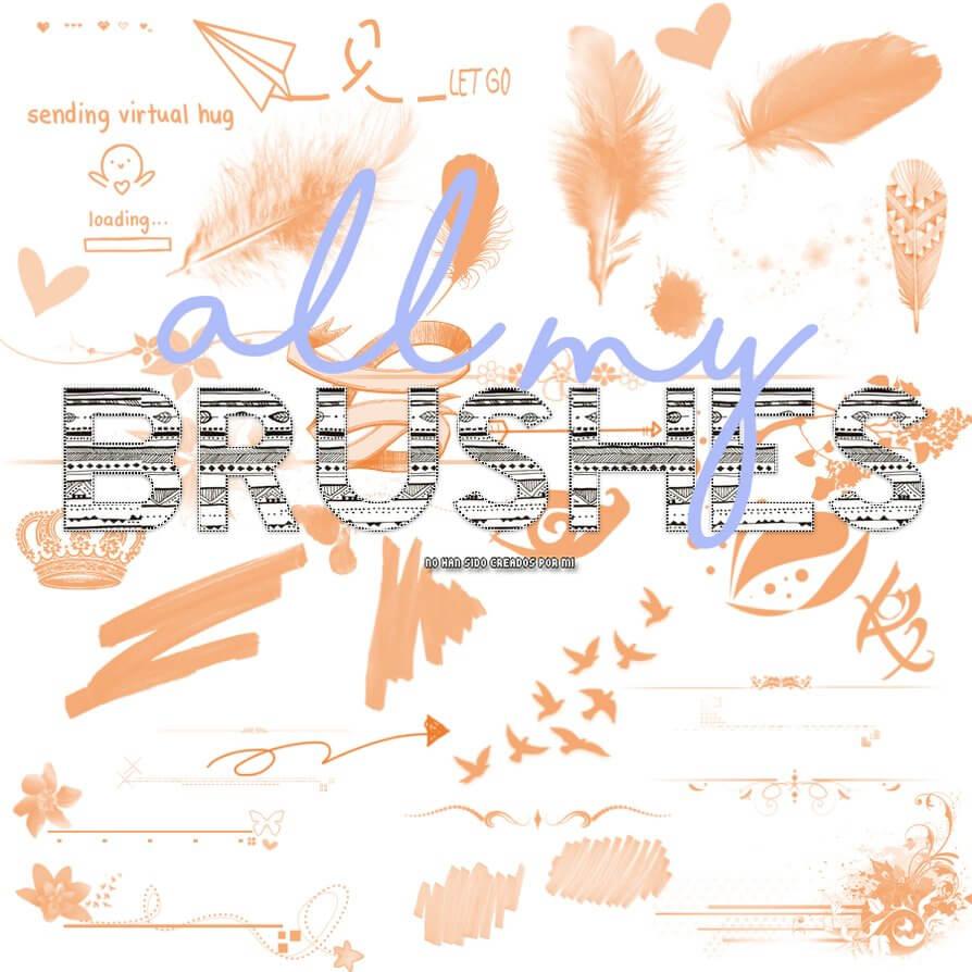 羽毛、爱心、植物花纹、记号笔涂痕、飞鸟等PS笔刷素材下载