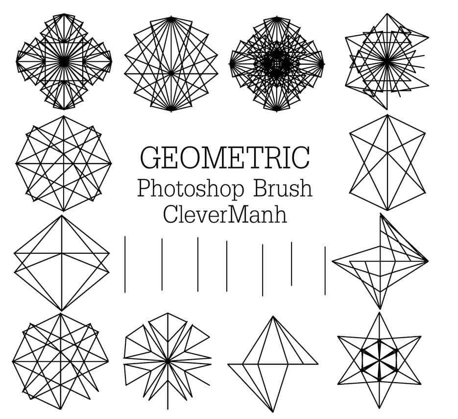 几何线条组合式花纹图案Photoshop笔刷免费下载 几何花纹笔刷 几何图形笔刷  adornment brushes