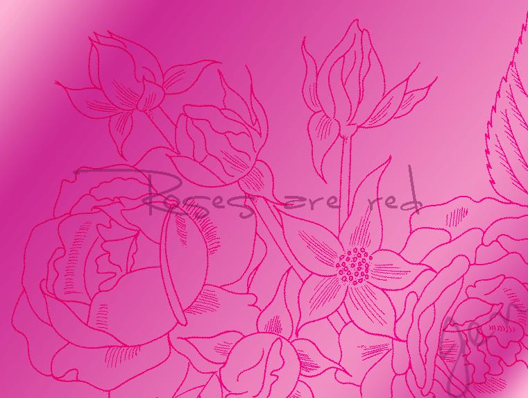 手绘线框式鲜花花朵图案Photoshop花纹笔刷素材