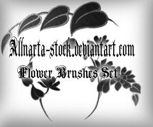 手绘植物叶子印花图案PS笔刷素材下载