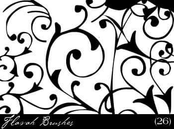 经典线条式印花图案PS笔刷素材下载 线条花纹笔刷 植物印花笔刷 印花笔刷  flowers brushes