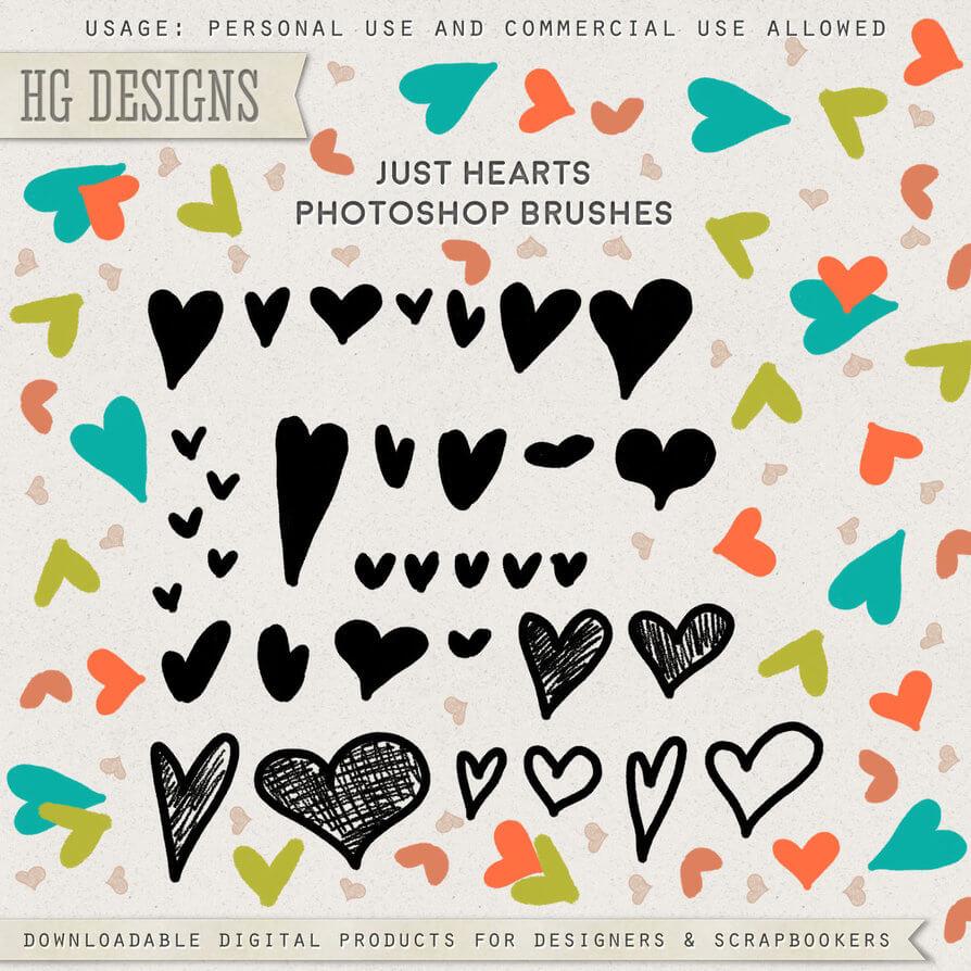 可爱的手绘涂鸦爱心、呆萌小爱心Photoshop笔刷素材下载 爱心笔刷 涂抹爱心笔刷 恋爱笔刷 小爱心笔刷  love brushes %e6%b6%82%e9%b8%a6%e7%ac%94%e5%88%b7