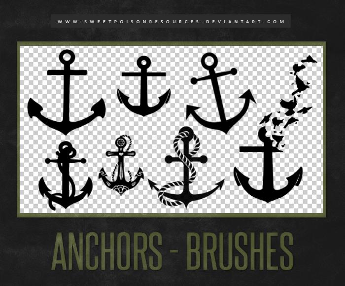 卡通风格的船锚图案Photoshop笔刷素材下载