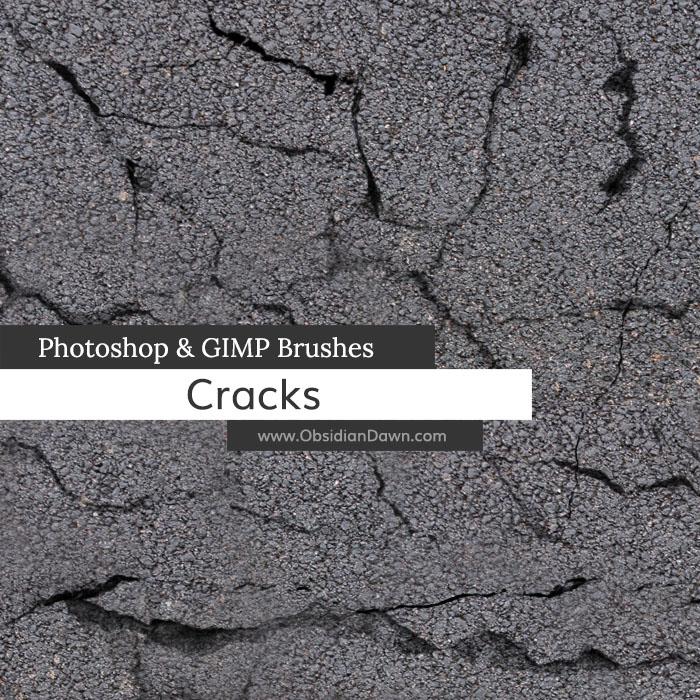 地面裂纹、裂痕效果PS开裂笔刷素材