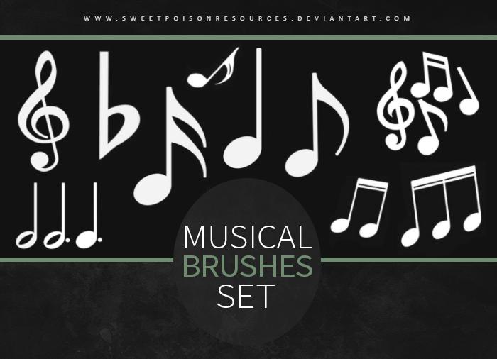音符、音乐符号、乐符Photoshop音乐元素笔刷 音符笔刷 音乐笔刷 乐符笔刷  symbols brushes