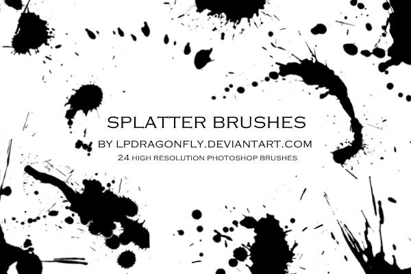 油漆滴溅、水墨滴溅、血液滴溅、液体滴溅效果PS笔刷素材下载