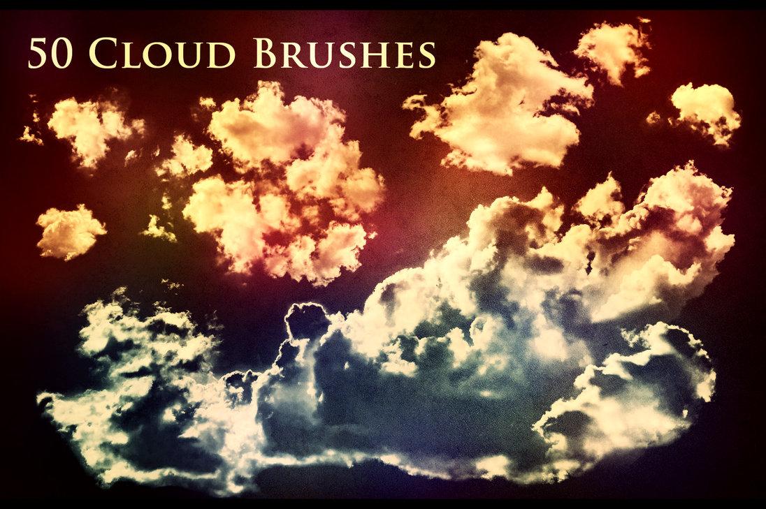 50种高清云朵、白云、云层效果PS笔刷素材(含asl文件素材)
