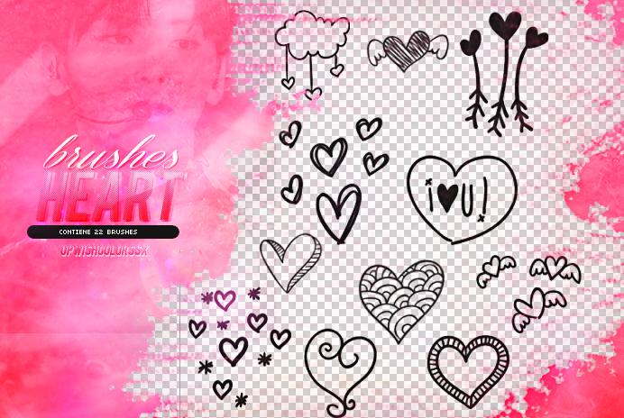 可爱的手绘爱心涂鸦、美图心形图案Photoshop笔刷素材下载
