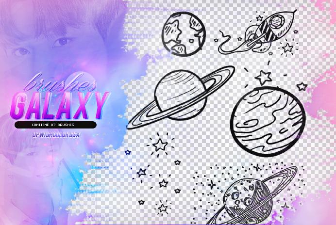 卡哇伊星球、星星、行星、宇宙飞船等卡通涂鸦Photoshop美图笔刷