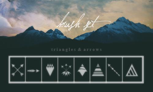 箭图形、三角形等美图装饰PS笔刷素材下载