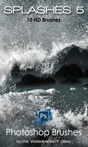 10种高清海浪、波浪效果、汹涌波涛拍打Photoshop笔刷素材下载