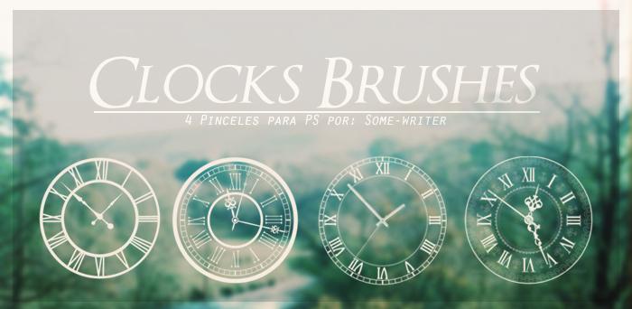 4种钟面表盘图案、罗马种表盘Photoshop笔刷素材下载 钟面笔刷 罗马种笔刷  adornment brushes