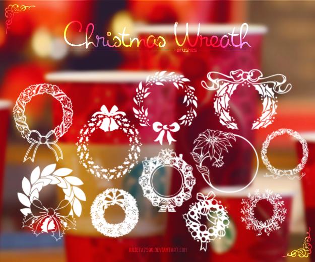 欢乐圣诞节装饰花圈图案Photoshop笔刷素材下载