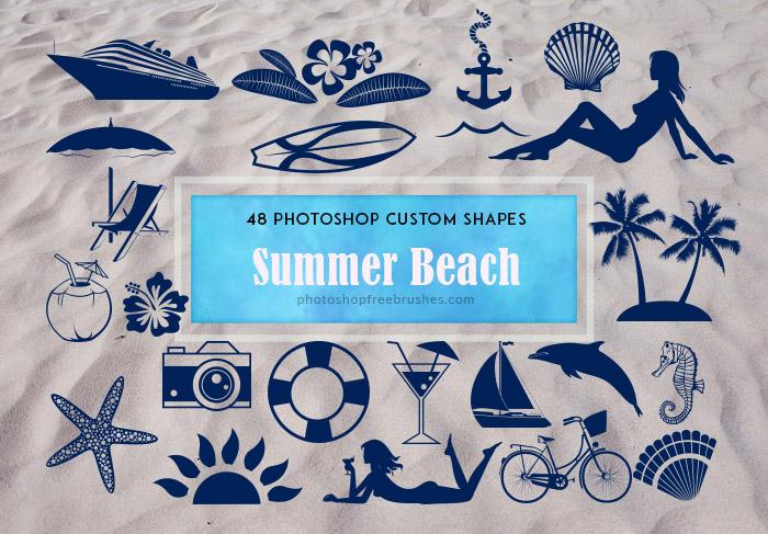 48种海洋元素图形沙滩女郎、贝壳、邮轮、椰汁、船锚、海马、海豚、鸡尾酒、救生圈、椰树、海星、相机等PS自定义形状素材 .csh 下载