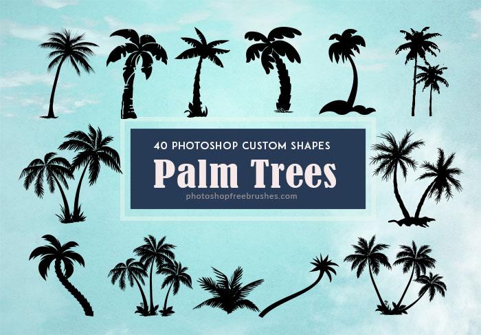 40种海边椰子树剪影图形photoshop自定义形状素材 .csh 下载