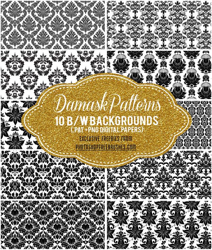 10种富丽堂皇的欧式印花、墙壁经典花纹Photoshop填充图案底纹素材 Patterns 下载