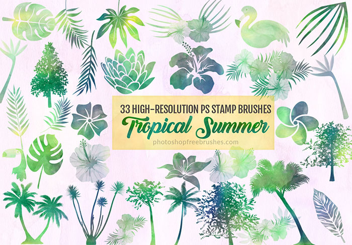 33种树木、植物叶子、鲜花花朵图案Photoshop笔刷素材下载 鲜花笔刷 花朵笔刷 大树笔刷 叶子笔刷  plants brushes