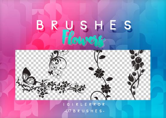 漂亮的植物艺术印花图案Photoshop笔刷素材免费下载