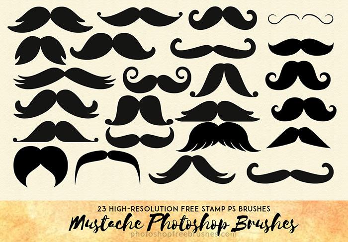 23种欧式大胡子图形、卡通胡子、怪叔叔的胡子造型Photoshop笔刷素材下载
