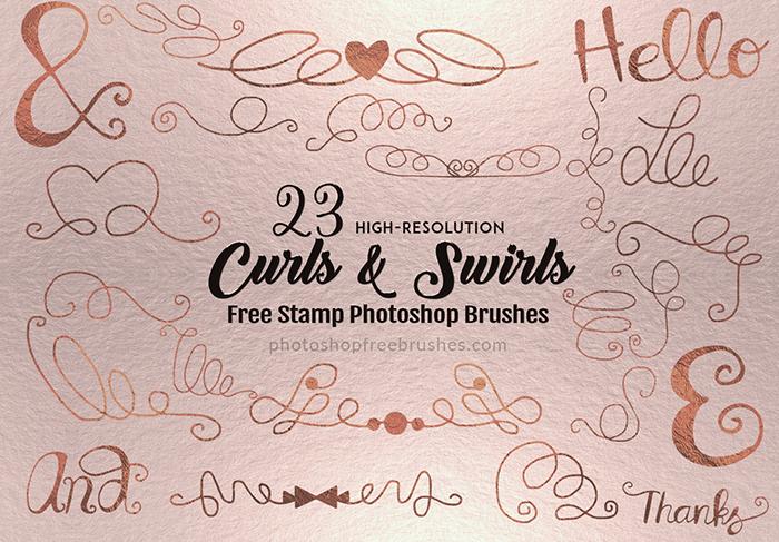 23种线条涂鸦艺术花纹装饰图案PS笔刷素材下载