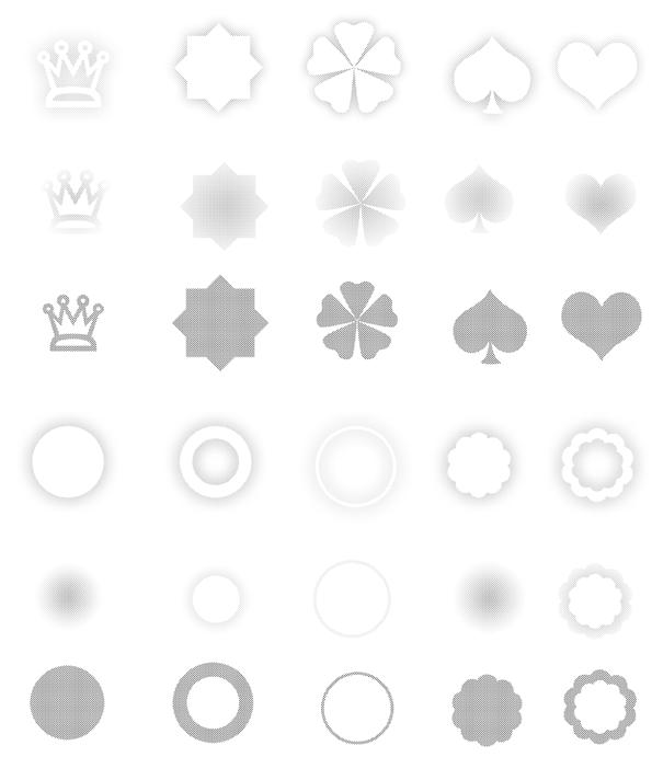 皇冠、四叶草、红桃心、爱心、圆圈等花纹图案Photoshop笔刷素材下载