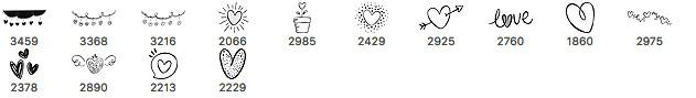 14种可爱的童趣爱心符号涂鸦标记Photoshop笔刷素材下载