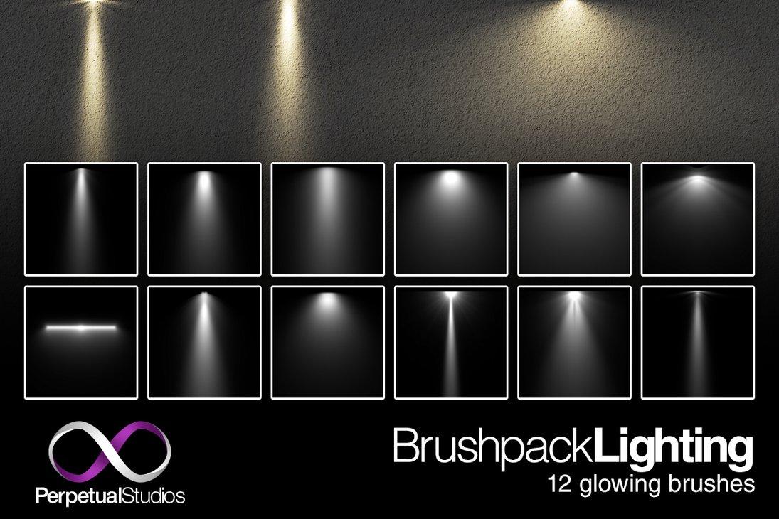 12种灯光照射效果、光照投射、投影PS笔刷素材下载 灯光照射笔刷 投影笔刷 光线照射笔刷  light brushes