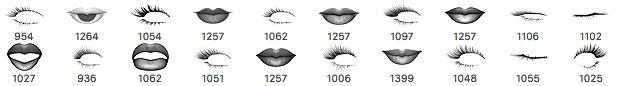 21种嘴唇、眼睫毛造型Photoshop女性化妆笔刷素材下载