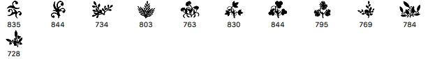11种手工植物印花图案、欧式贵族花纹印记Photoshop笔刷素材下载
