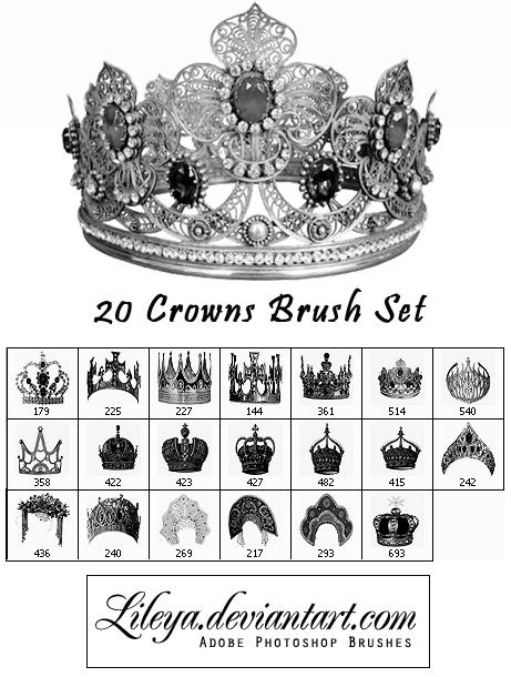 20种尊贵、高贵的皇冠、王冠素材PS笔刷免费下载