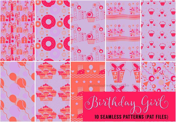 10种礼物、蛋糕、气球、甜甜圈等生日、节日庆祝元素Photoshop填充图案文件底纹素材 .pat 下载