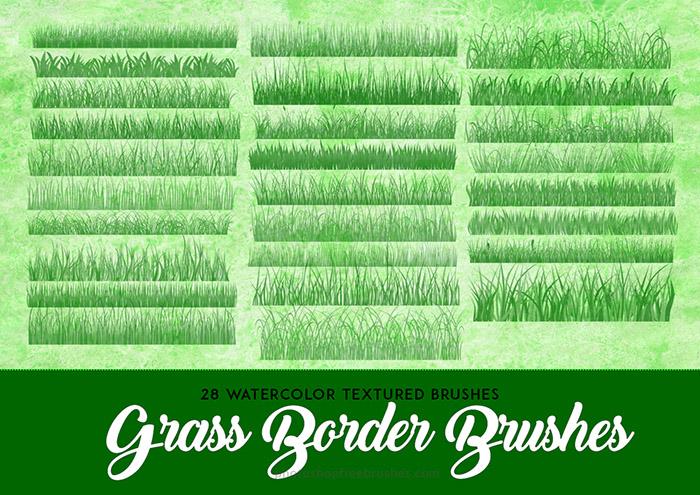 28种草坪、草地填充纹理效果Photoshop青草笔刷素材下载