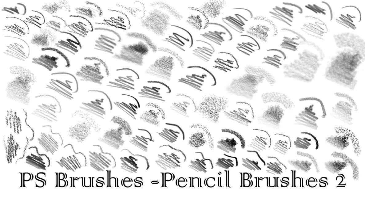各色铅笔笔触和蜡笔笔触纹理效果Photoshop笔刷素材下载