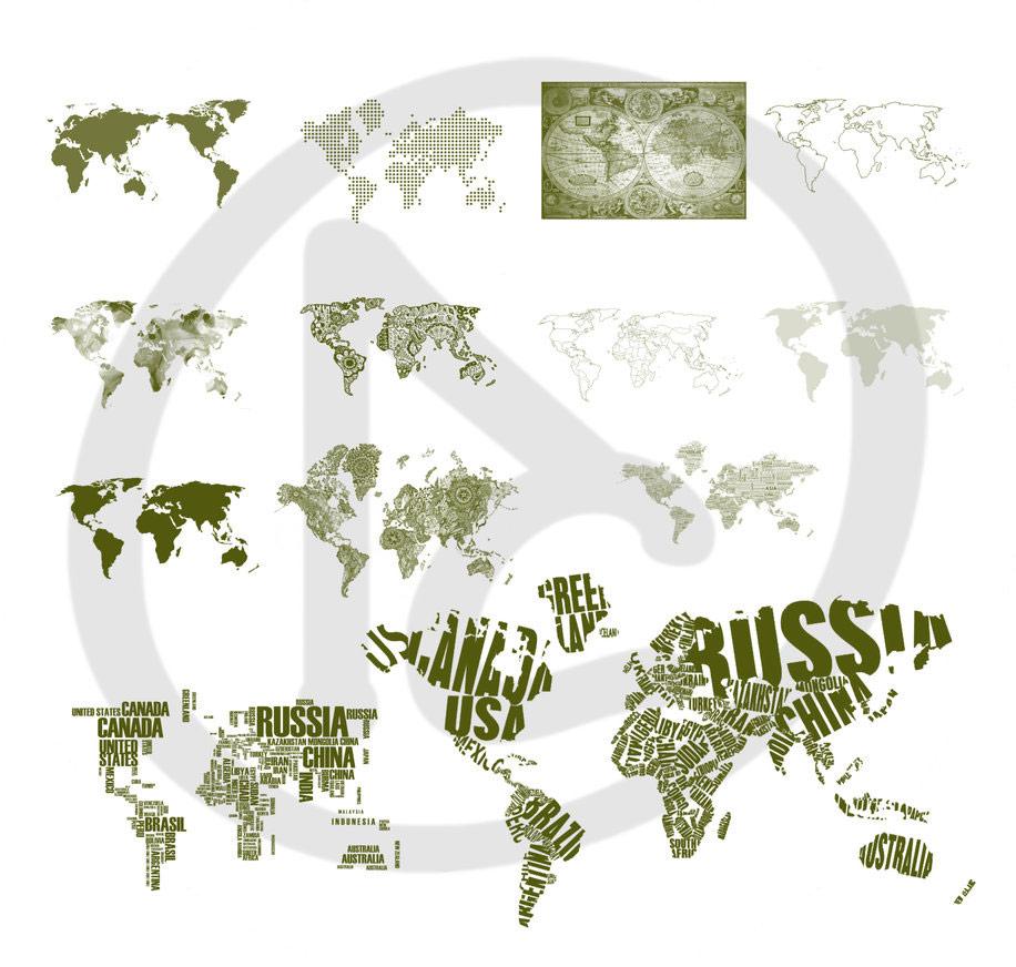 世界地图剪影素材、地图大陆板块图形Photoshop笔刷素材下载