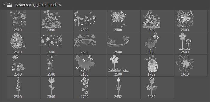 24种复活节艺术花纹图案Photoshop植物印花笔刷下载