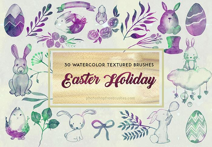 30种复活节可爱小兔子、复活节蛋、植物鲜花花纹图案Photoshop笔刷下载