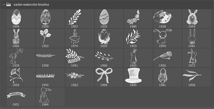 30种复活节可爱小兔子、复活节蛋、植物鲜花花纹图案Photoshop笔刷下载 植物花纹笔刷 复活节蛋笔刷 复活节笔刷 印花笔刷  adornment brushes flowers brushes