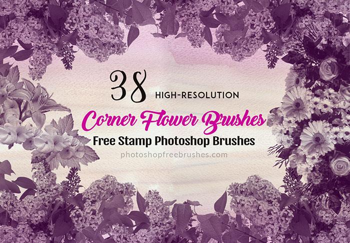 38种免费的花丛图案素材Photoshop笔刷下载