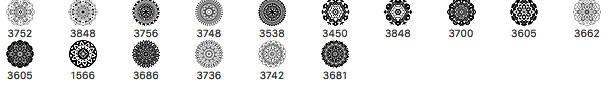 16种曼陀罗风格的印花花纹笔刷PS素材免费下载