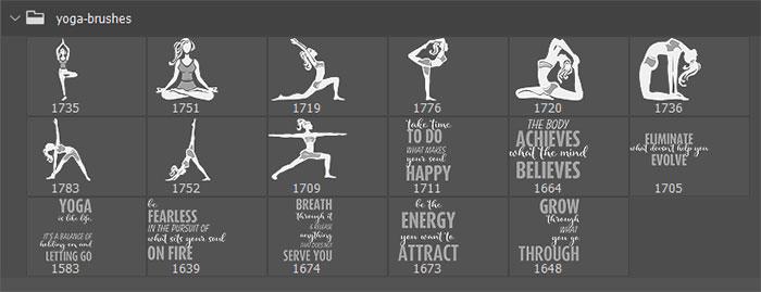 17种女性瑜伽姿势卡通造型图Photoshop笔刷素材下载 瑜伽笔刷 女性笔刷 人物剪影笔刷  characters brushes