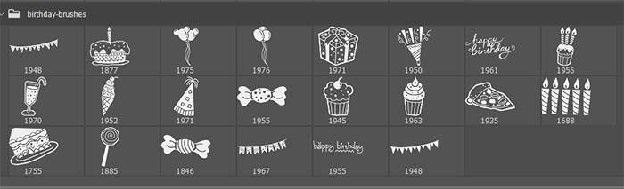 22种免费的生日派对蛋糕、气球、彩旗、糖果、蜡烛、棒棒糖等Photoshop可爱笔刷素材下载