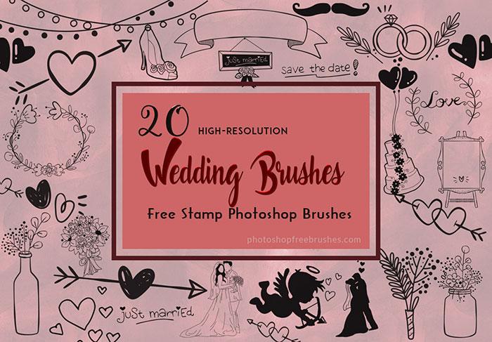 20种可爱的情人节艺术装扮图案Photoshop笔刷素材下载