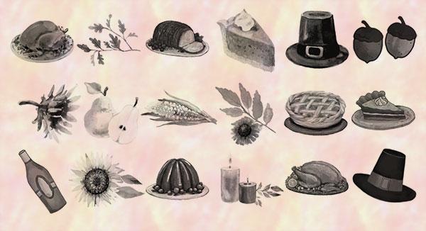 18种食物图形水彩效果PS笔刷素材下载